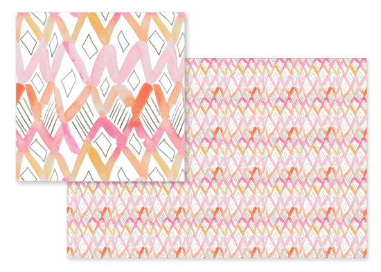 fabric - Watercolor Rhombus Sketch by Emily Sanford