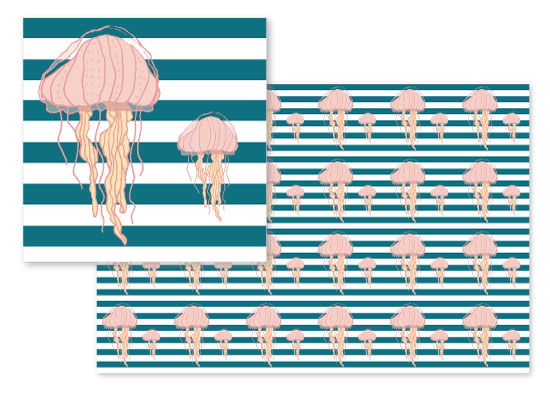 fabric - Blue Bold Stripes Jellyfish by Heather Doucette