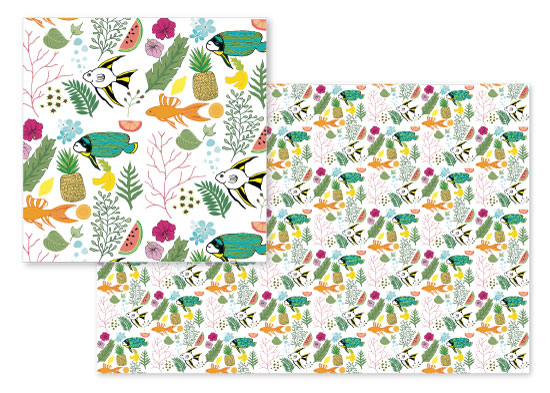 fabric - Tropical Doodles by Heather Doucette