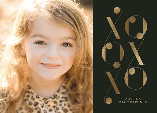 valentine's day - Gold Foiled XO by Baumbirdy