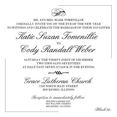 wedding invitations - Black Tie Traditional by Katie Weber