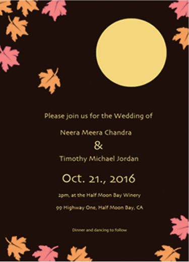 wedding invitations - Autumn Moon by EllynDraws