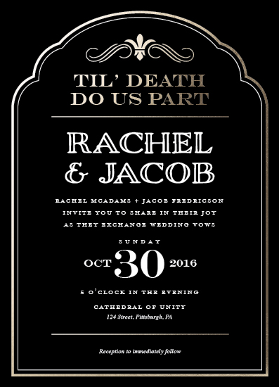 wedding invitations - Til' Death by Loree Mayer