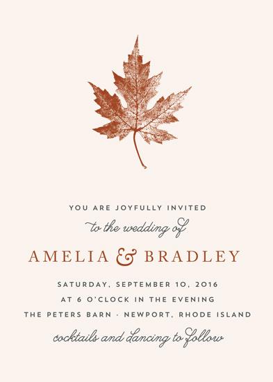 wedding invitations - Leaf Print by Katharine Watson