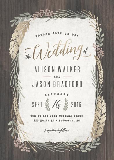 wedding invitations - Woodland Wreath by Hooray Creative
