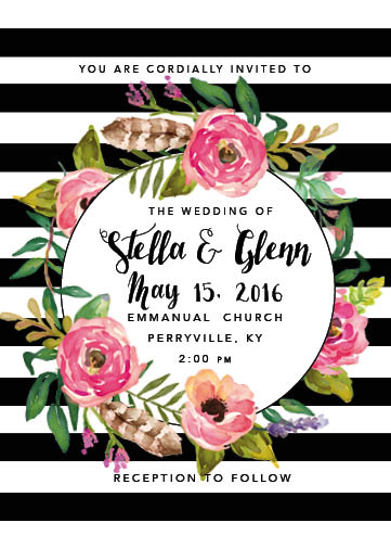 wedding invitations - Stripes and Feathers by Katherine Franzen