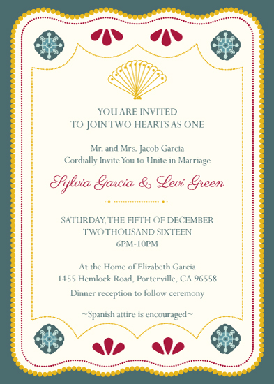 wedding invitations - Spanish Fan by Simply Leah Jean
