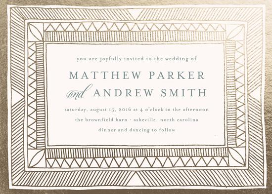 wedding invitations - Hand Drawn Gilded Frame by Katharine Watson