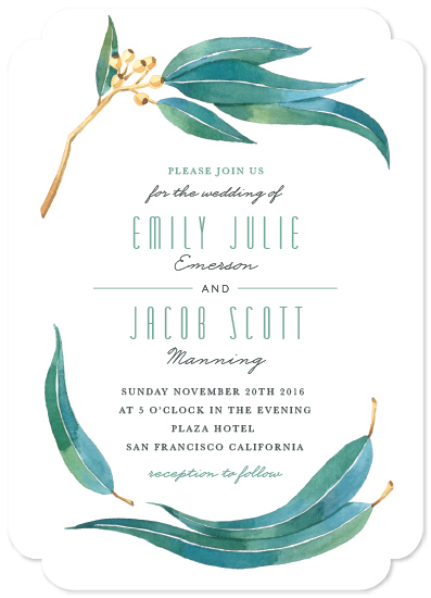 wedding invitations - Eucalyptus Leaves by Four Wet Feet Studio