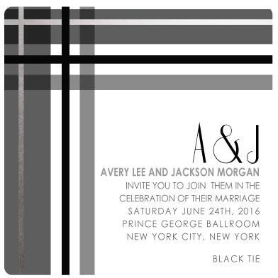 wedding invitations - Black Tie Plaid by Kelly Clabaugh