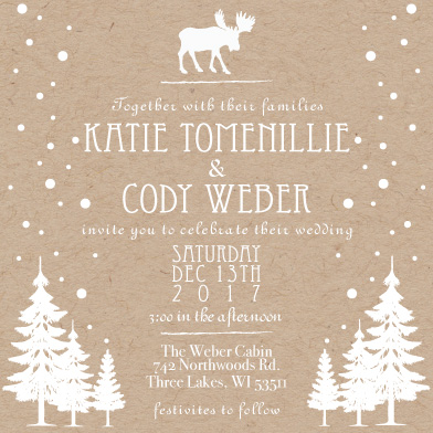 wedding invitations - Winter Cabin by Katie Weber