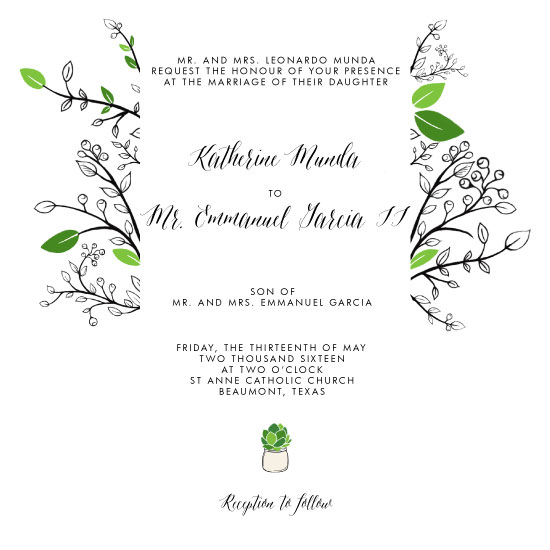 wedding invitations - Succulent Green by Katherine Munda
