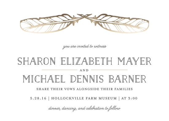 wedding invitations - Golden Feathers by Gray Star Design