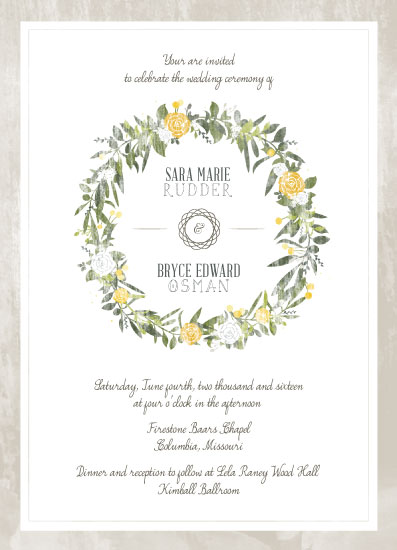 wedding invitations - Rustic Floral Wreath by Sara Osman