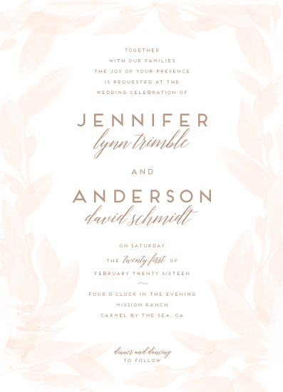 wedding invitations - Ethereal Watercolored Leaves by Shiny Penny Studio