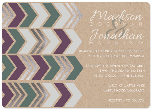 wedding invitations - Krafted Chevron by Kelly Clabaugh