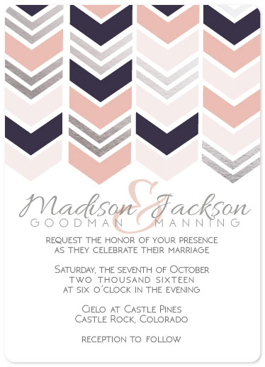 wedding invitations - Shimmer Chevron by Kelly Clabaugh