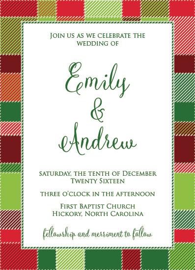 wedding invitations - Christmas Plaid by Jenna Pennell