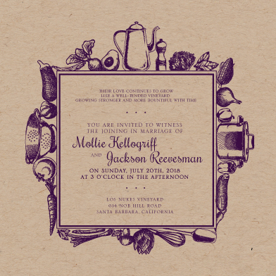 wedding invitations - organic kitchen by ashley ruff