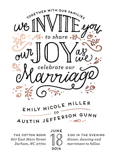 wedding invitations - Joyful by Pink House Press