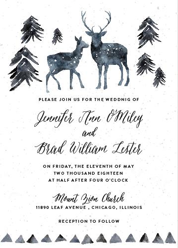 wedding invitations - winter deer by Cass Loh
