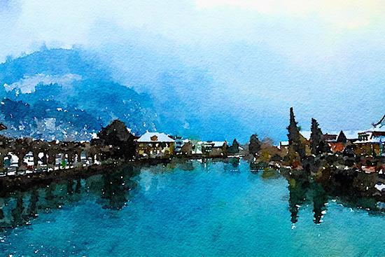 art prints - Beautiful Town in Alps, Interlaken by Sher Teng