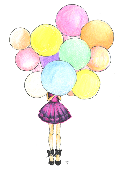 art prints - Girl with Balloons by Megan Pizzitola