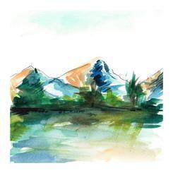 Colorado Spring Mountain Sketch