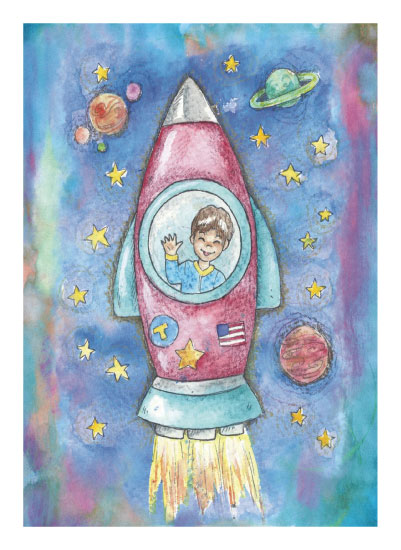 art prints - Rocket Ship by Rachel Kennison