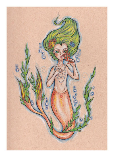 art prints - Mermaid Child by Rachel Kennison
