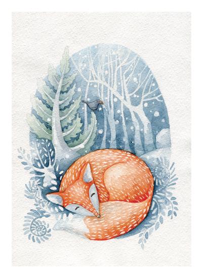 art prints - Sleeping on the snow by Anastasia Semanina