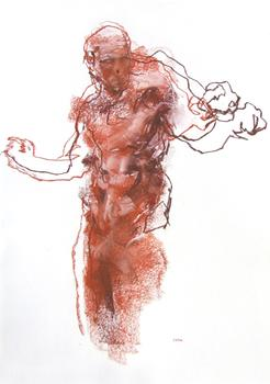 Drawing 193 - Red Abstract Figure