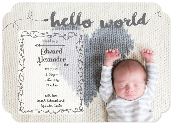birth announcements - Hello World Baby Announcement by Ilidia Nicholas
