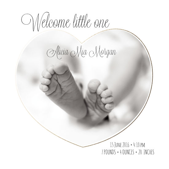 birth announcements - Our heart by Anja de Lange