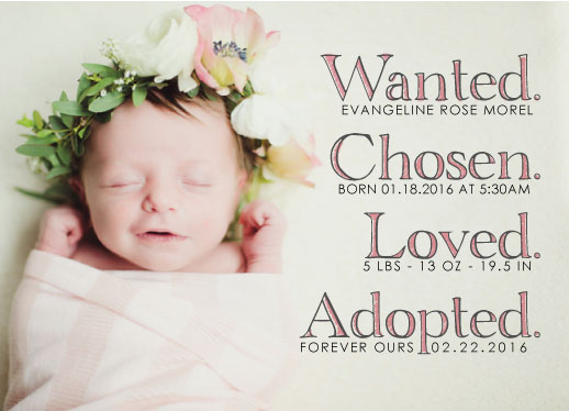birth announcements - Wanted.Chosen.Loved.Adopted. by Kelly Clabaugh