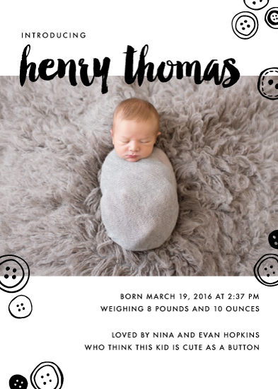birth announcements - Cute as a Button by Ever Upward Studio