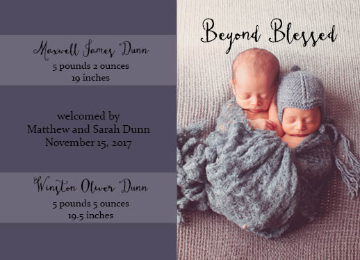 birth announcements - Beyond Blessed by Emily Jean