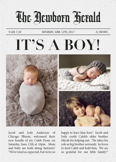 birth announcements - The Newborn Herald by Brandy Folse