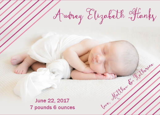 birth announcements - Pink Stripes by Emily Jean
