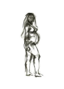 Angry Nude Pregnant Standing Woman