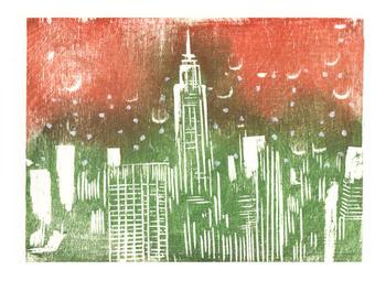 New York City Skyline - Abstract Wood Block Print