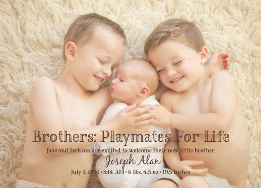 birth announcements - Brothers by Jennifer Elwell