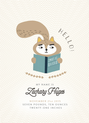birth announcements - Smart as a fox by Nadinda