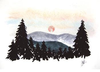 Hazy Mountain Sunset