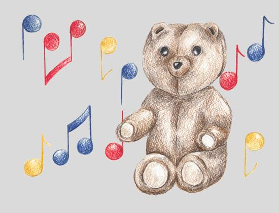 art prints - Musical Bear by Rebecca Harrick
