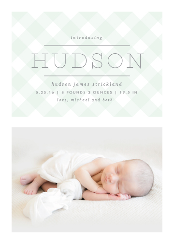 birth announcements - Gingham by Lauren Chism