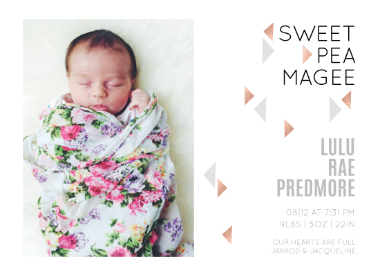 birth announcements - Sweetpea Magee by Love and Foster