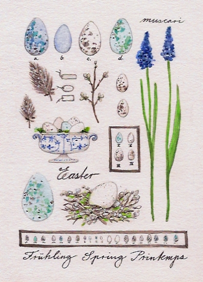 art prints - Minty blue botanics by Birgitte Els-Schleuder