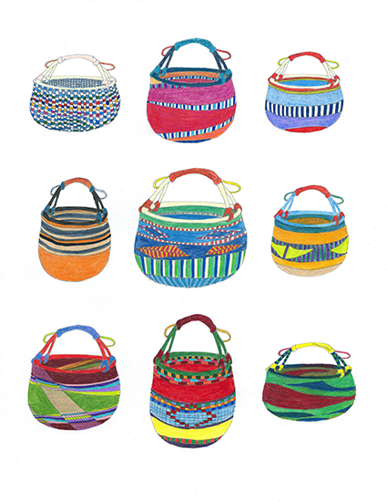 art prints - Bolga Baskets by Hi Uan Kang Haaga