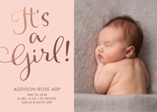 birth announcements - Blushing Baby Girl by Andrea Castek